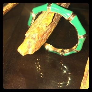 Green and Gold Bangle Cuff Bracelet